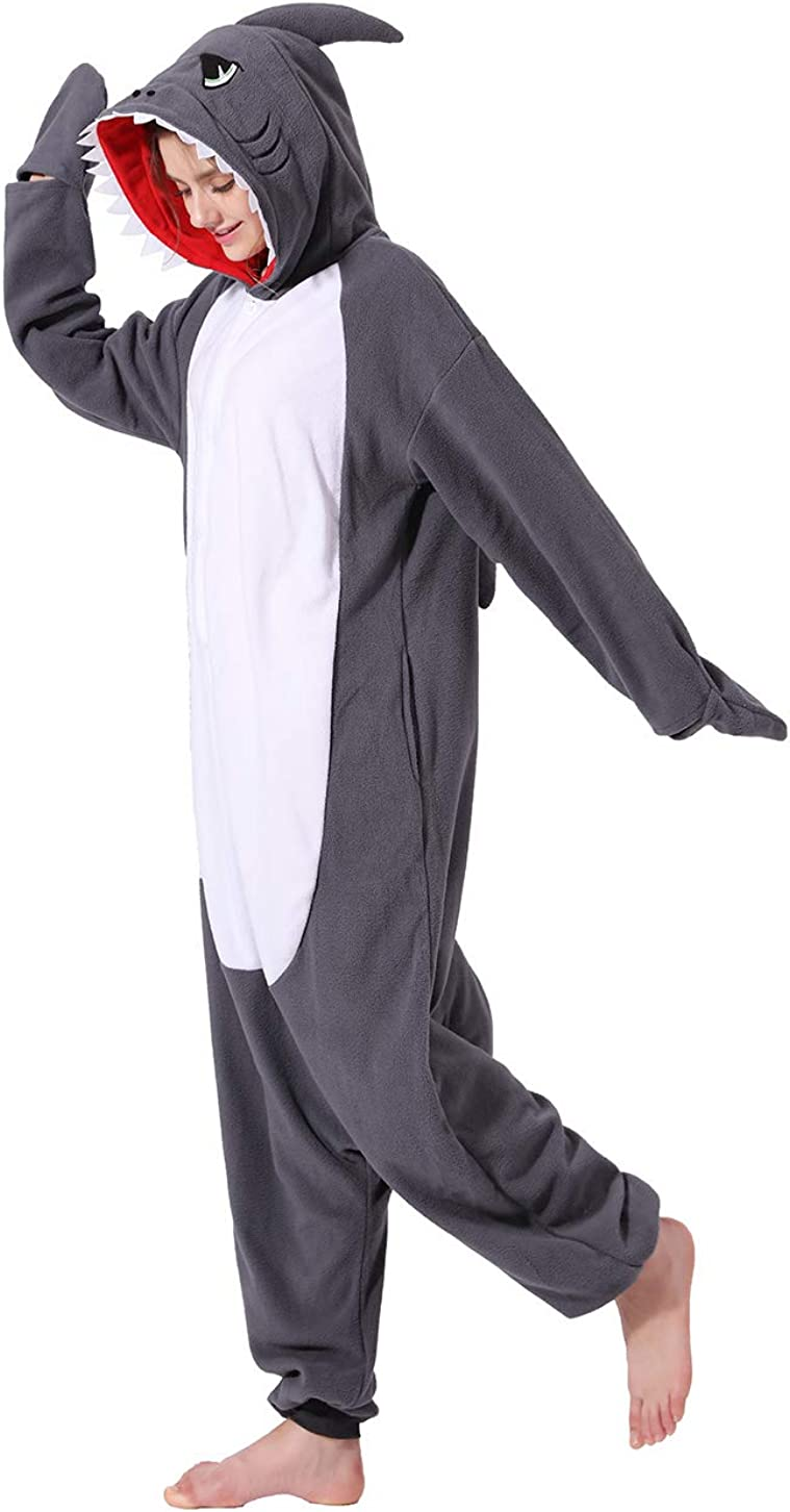 New Shark Onesie Adult Unisex Animal Cosplay Costume One Piece Pajamas for Teens