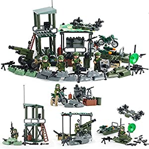 Soldiers Outpost,Army Minifigures Team with Military Weapons Accessories Toys Building Blocks 100% Compatible