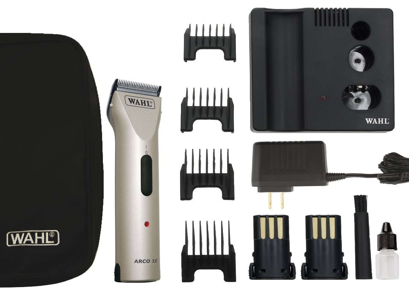 Wahl Professional Animal Powerful Motor ARCO Cordless Clipper Kit with bonus Blade Brush included (Chrome)