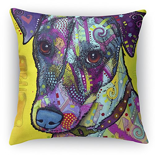 Jack Russell Printed on a 16x16 inch Square Pillow Double-Sided Dean Russo