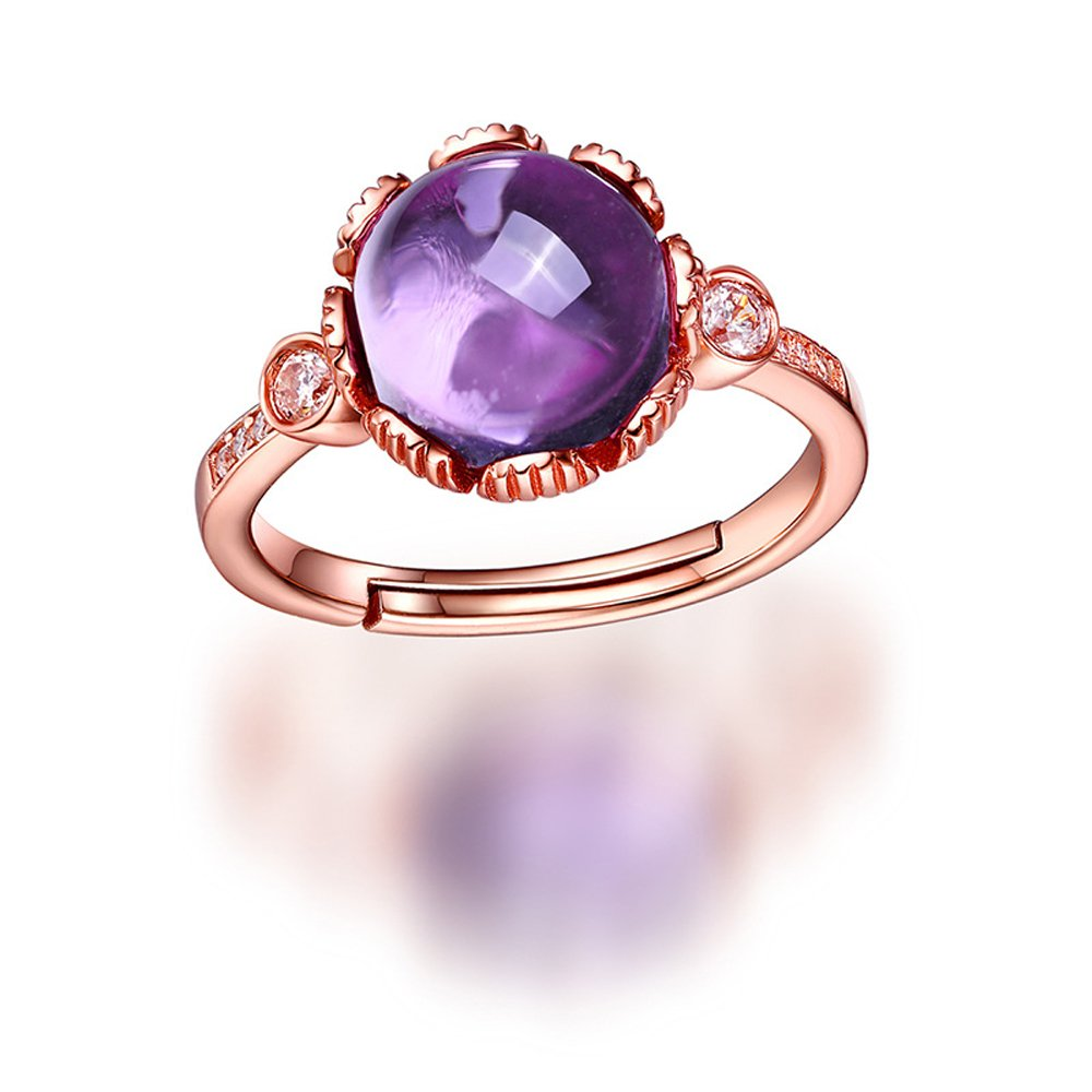 HALOQUEEN Natural Briolette Purple Amethyst Rings 925 Sterling Silver For Women Fine Jewelry