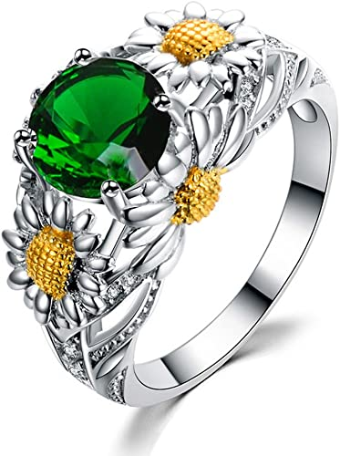 F/&F Ring Fashion Cute Green Ring Yellow Gold Filled Jewelry Ring For Women Wedding Rings