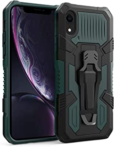 Cobirie iPhone XR Case with Kickstand Holder&Belt Clip,iPhone XR Slim Fit Cases Cover [Heavy Duty] | Military Grade Drop Protection | Impact Resistant | Shockproof for iPhone XR 6.1 inch -Green