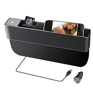 Organizador Multifuncional para Asiento de Coche portavasos con Doble Carga USB Caja de Almacenamiento de Cuero para el Lado del Conductor