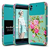 HTC Desire 626 Case, HTC Desire 626s Case, AnnBay Armor High Impact Heavy Duty Defender Dual Layer Protector Hybrid Phone Cover Case for Desire 626 / Desire 626s (Floral Blue)