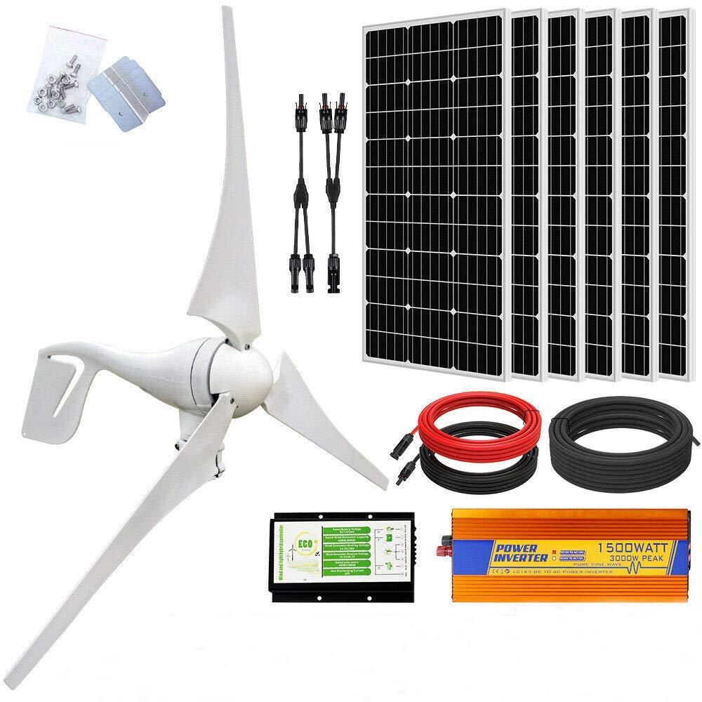 ECO-WORTHY 1000 Watts 24 Volts Kit solar eólico: 400W Aerogenerador + 6 piezas 100W Panel solar monocristalino + 1500W 24V-220V Inversor fuera de red para sistemas fuera de la red