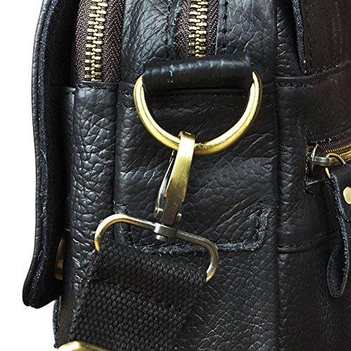 Genda 2Archer Vintage Männer kleine Handtasche Leder Arbeitstasche KZ153 Schwarz
