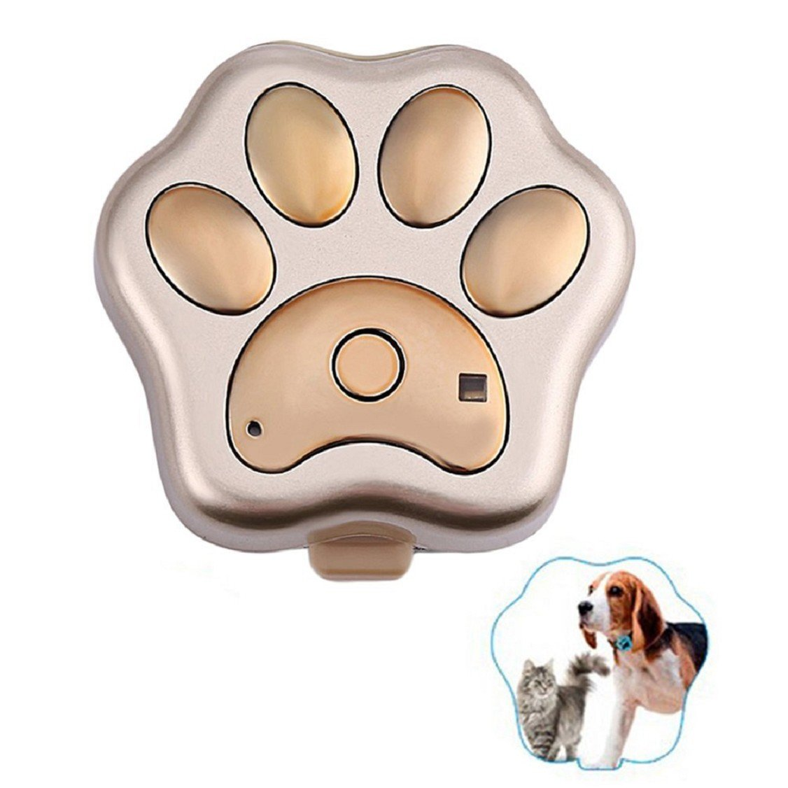Egmy New GPS Pet Tracker Smart WiFi Mini Tracker ,Pet Tag Tracker ,Waterproof Collar Locator,Safety Alarm Best for Large Medium Small Pets (Gold)