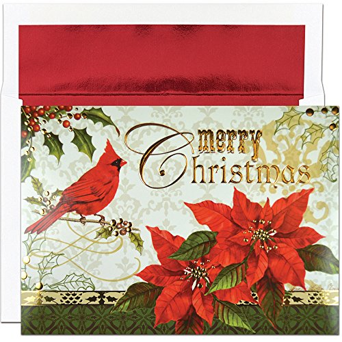 Great Papers! Holiday Greeting Card, Merry Christmas Cardinal, 16 Cards/16 Envelopes, 7.875