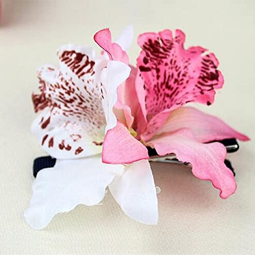 Hair flowers amazon cheap4uk hawaiian orchid flower hair clipshula beach fancy dress party accessoriespink mightylinksfo