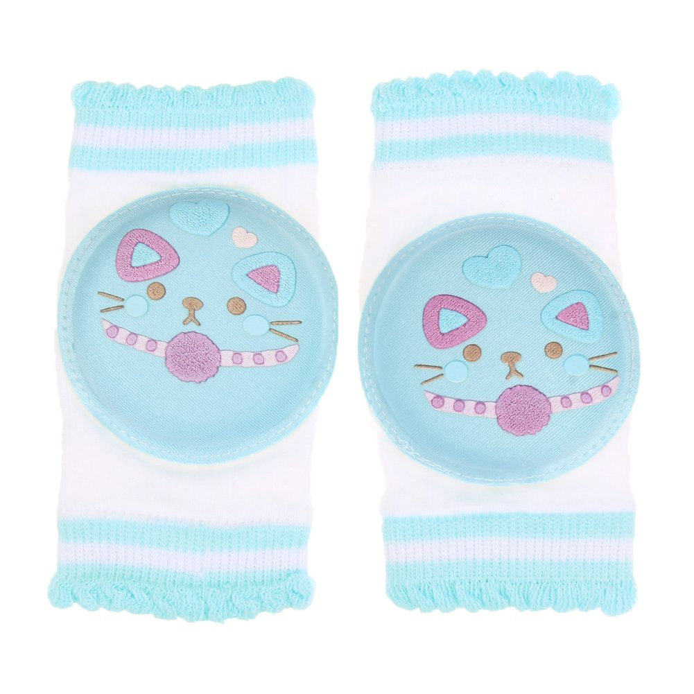 Beautiful Baby Safety Crawling Elbow Pads with Blue Cat Leg Warmers Support Knee Protector 1 Pair