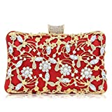 Glitter Crystal Clutches Bridal Evening Bags And Clutches For Women Large Handbag Clutch Purse With Strap (Red)