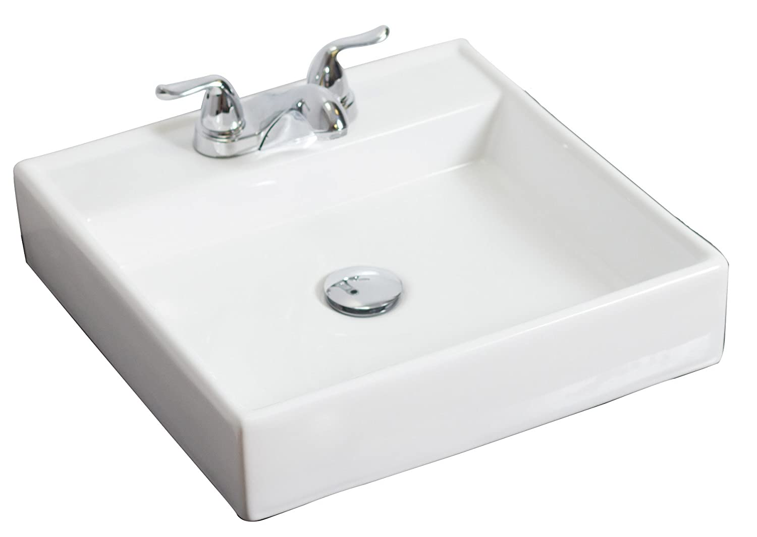 American Imaginations AI-12-596 Above Counter Square Vessel for 4-Inch OC Faucet White IMG Imports Inc. 17.5-Inch x 17.5-Inch
