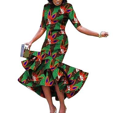 eb680183f4a Amazon.com  Winwinus Women s Fashion Batik Mermaid Africa Dashiki Graceful Long  Dress  Clothing