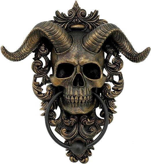 Nemesis Now Gold Diabolus Horned Skull Door Knocker 25cm Home Kitchen