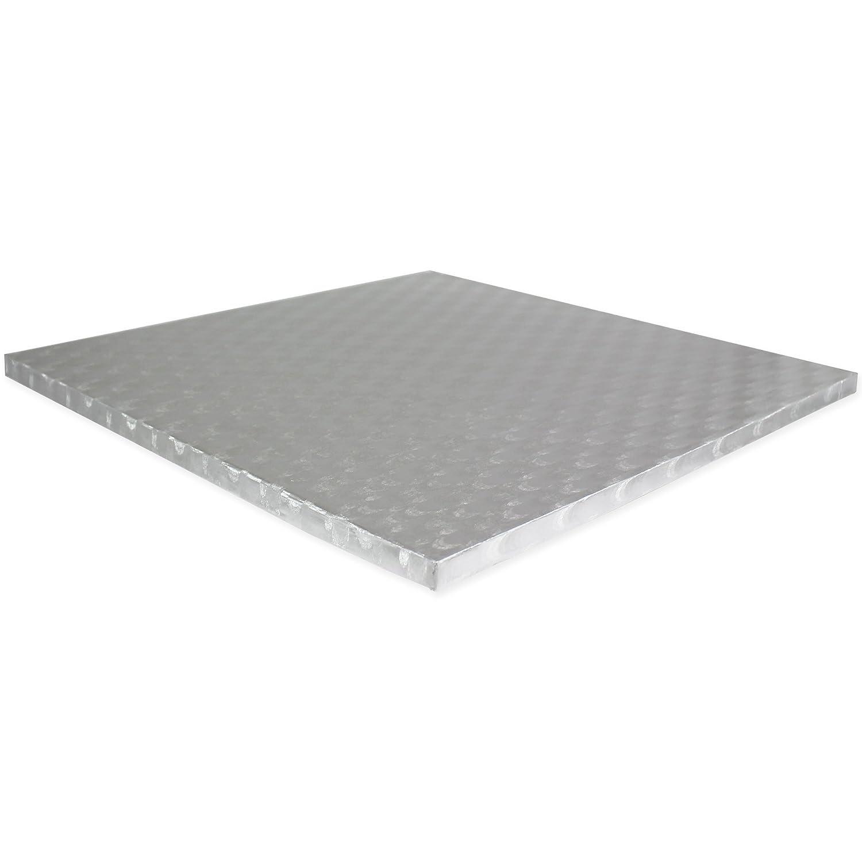 Silber 15 x 1.1 x 15 cm PME Quadratische Tortenplatte 15 cm 11 mm dick Kunststoff