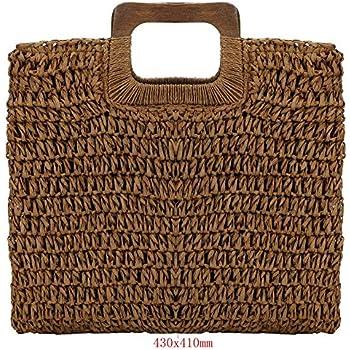 Women's Straw Tote Bag Handbags Beach Bag Exquisite Woven Fashion Large Rectangle Top Handle Bag Shopper Bag