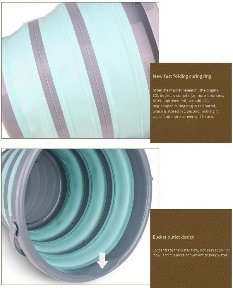 FQCD Seau Pliant pour Le Camping, Le Voyage et Le Jardinage - Seau pour récipients d'eau pour lavabo Pliant, avec Couvercle et Poche Pratique en Maille pour Outils (Color : C) B