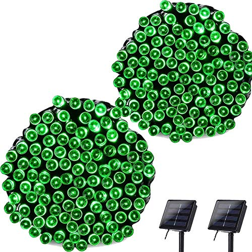 Lyhope Solar String Lights, 72ft 200 LED 8 Modes Waterproof St. Patrick's Day Lights for Garden, Patio, Home, Party, Holiday, Outdoor Decor (Green, 2 Pack) from LYHOPE