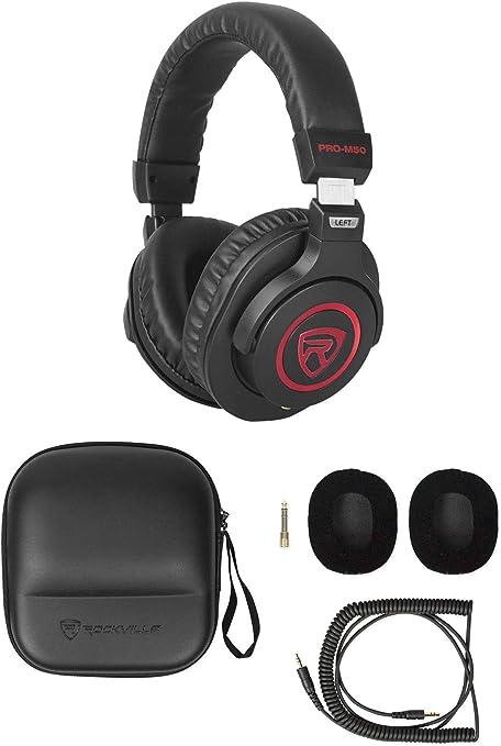 Rockville Studio Headphones+Detachable Coil Cable+Case+Extra Ear Pad Red PRO-M50 SR