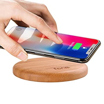 Soporte cargador inalámbrico WoodPuck de Fonesalesman, edición bambú | cargador de 7.5 W para iPhone11, 11 Pro, XS, XR, X, 8; 10W, Galaxy S10, S10 ...