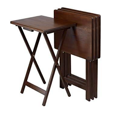 Winsome Wood Snack Table, Antique Walnut Finish, Set of 4