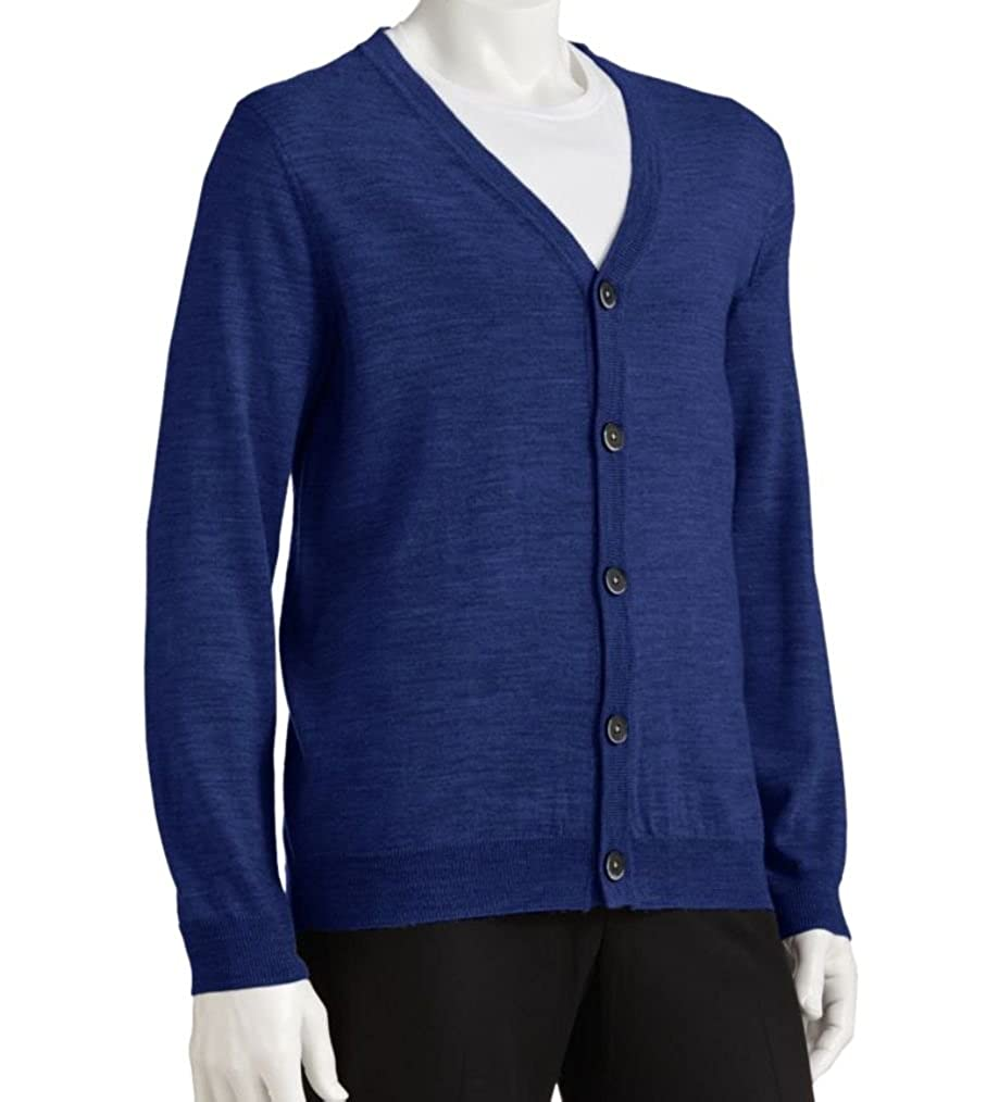 Liz Claiborne Apt 9 Mens Cardigan Lightweight Sweater Merino Wool Blend Blue