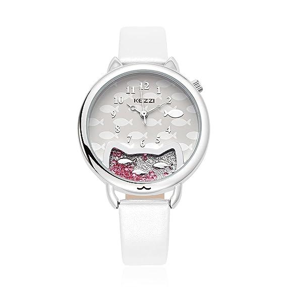Cute Pescado cristales en diseño de gato marca reloj para mujer (blanco)