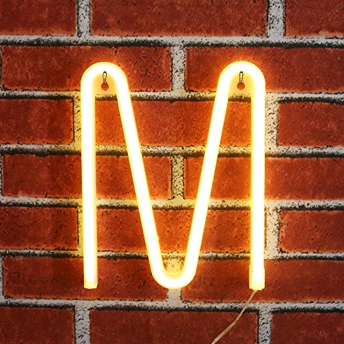 Light up LED Neon Letter Sign Wall Decorative Neon Lights Warm White Alphabet Marquee Letter Lights for Birthday Wedding Party Decor - M