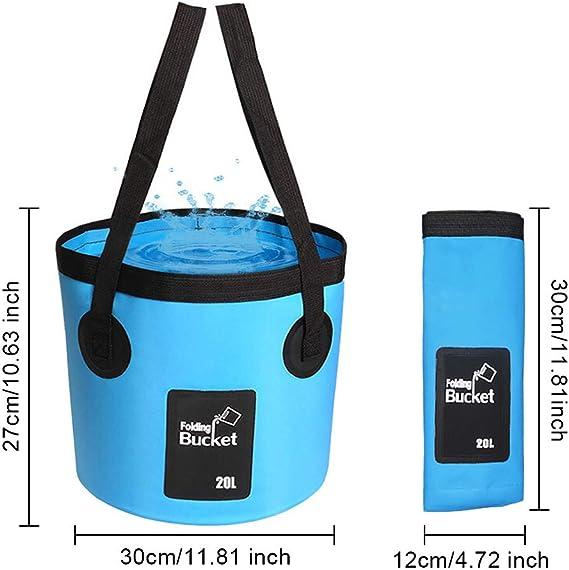 Cubo Plegable port/átil Portador de Agua Contenedor de Lavado para Acampar Senderismo Pesca Viajes LIVEHITOP Cubo Plegable 20L