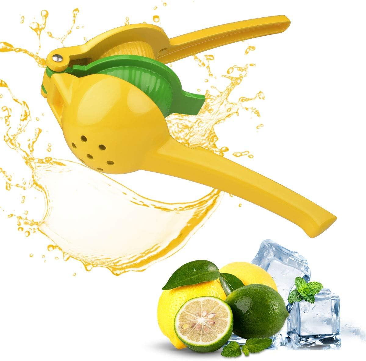 Lemon Squeezer Citrus Juicer Press Premium 2-in-1 Hand Lime Squeezer Quality Aluminum Alloy Manual Fruit Juicer Durable, Efficient Extraction (Yellow)