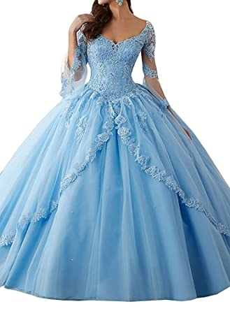 Fanciest Womens Lace Quinceanera Dresses With Sleeves Ball Gowns Prom Dress Blue US2
