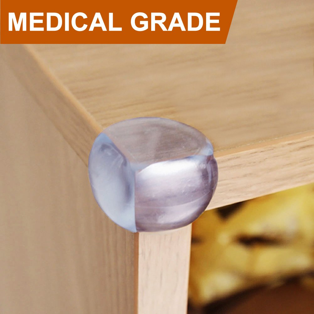BABY MATE 24 PCS Medical Grade Clear Baby Corner Guards (Ball Shape, Matte Finish) - Baby Proofing Corner Protector - Child Proof Corner Cover Corner Bumpers - Baby Safety Corner Guards 11491