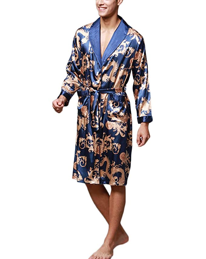 Pijama Kimonos Albornoz para Hombre Largo Camisón Robe Batas Ropa De Dormir Satín Dragón De Impresión Seda De Imitación: Amazon.es: Ropa y accesorios