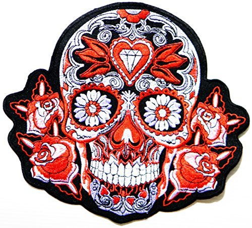 (XXL Size Big Jumbo Large Red Diamond Rose Sugar Skull Ghost Day of Death Love Never Die Lady Rider Biker Tatoo Logo Back Motorcycles Jacket T-shirt Patch Sew Iron on Embroidered Sign Badge Costume)