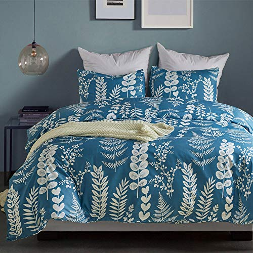 (AiMay Duvet Cover Sets Double Brushed Microfiber with Zipper Closure Fashion Light Blue Color with Elegent White Leaves Pattern Design Supper Soft Warm Comfortable and Reversible)