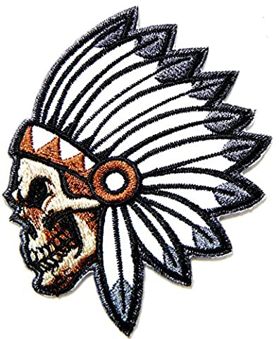 Native American Indian Chief Feather Skull Ghost Skeleton Outlaw Biker Rider Hippie Punk Rock Heavy Metal Tatoo Patch Sew Iron on Embroidered Sign - Native American Art Masks