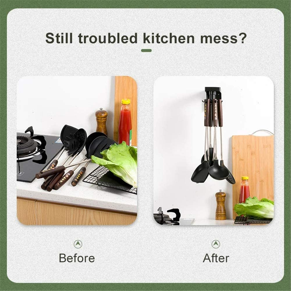 6 Hooks Kitchen Nail-Free Rotating Shelf,Telescopic self-Adhesive Rotatable Kitchen Wall Hooks Can Save Space Easy to Pick Up Kitchenware