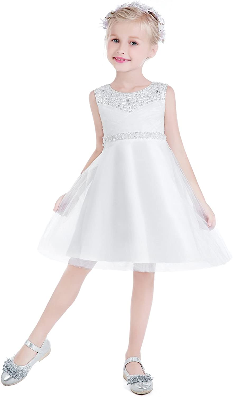 New A-line Pleated Chiffon Princess Girls Dress Wedding Party Kids Clothes