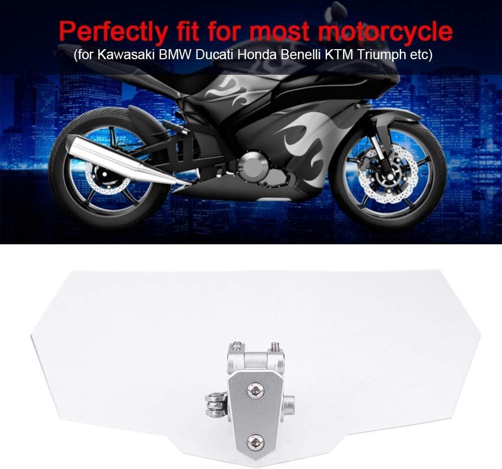 Qiilu Motorcycle Windshield Extension Spoiler Air Deflector Clear Acrylic for Kawasaki Honda Harley Davidson Suzuki Yamaha KTM