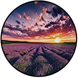 Printing Round Rug,Lavender,Blooming Fields in Endless Rows Agriculture Aromatherapy Rural Countryside Image Mat Non-Slip Soft Entrance Mat Door Floor Rug Area Rug For Chair Living Room,Multicolor