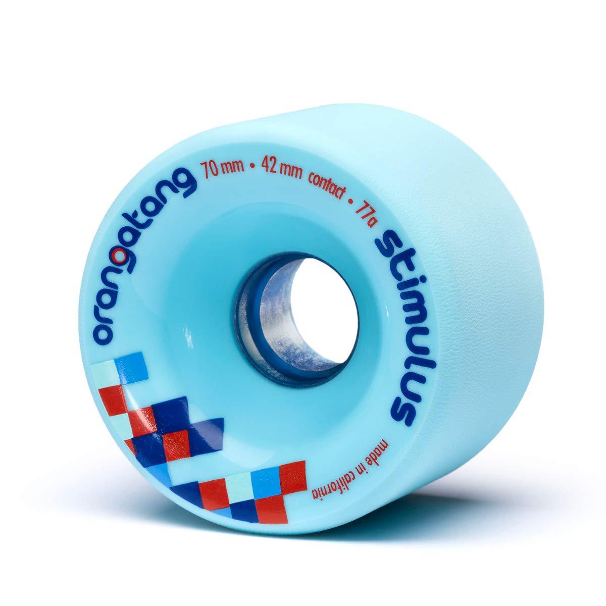 Orangatang Stimulus 70 mm 77a Freeride Longboard Skateboard Wheels w/Loaded Jehu V2 Bearings (Blue, Set of 4) by Orangatang