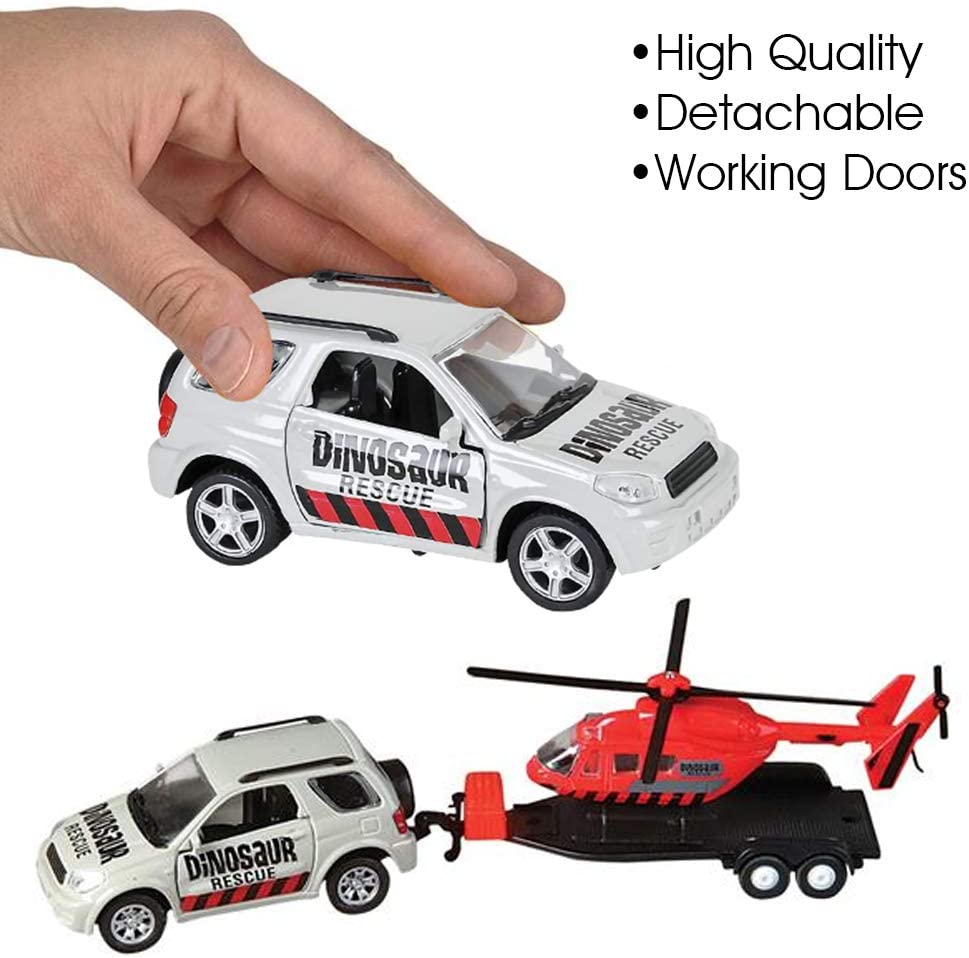 Best Birthday Gift for Boys /& Girls ArtCreativity SUV Toy Car with Trailer and Helicopter Playset for Kids Interactive Dinosaur Play Set with Detachable Helicopter /& Opening Doors on 4 x 4 Toy Truck