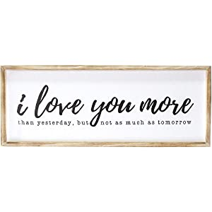 "Stratton Home Décor Stratton Home Decor I Love You More Oversized Wall Art, 12.00"" W X 1.00"" D X 32.00"" H, Natural, White"