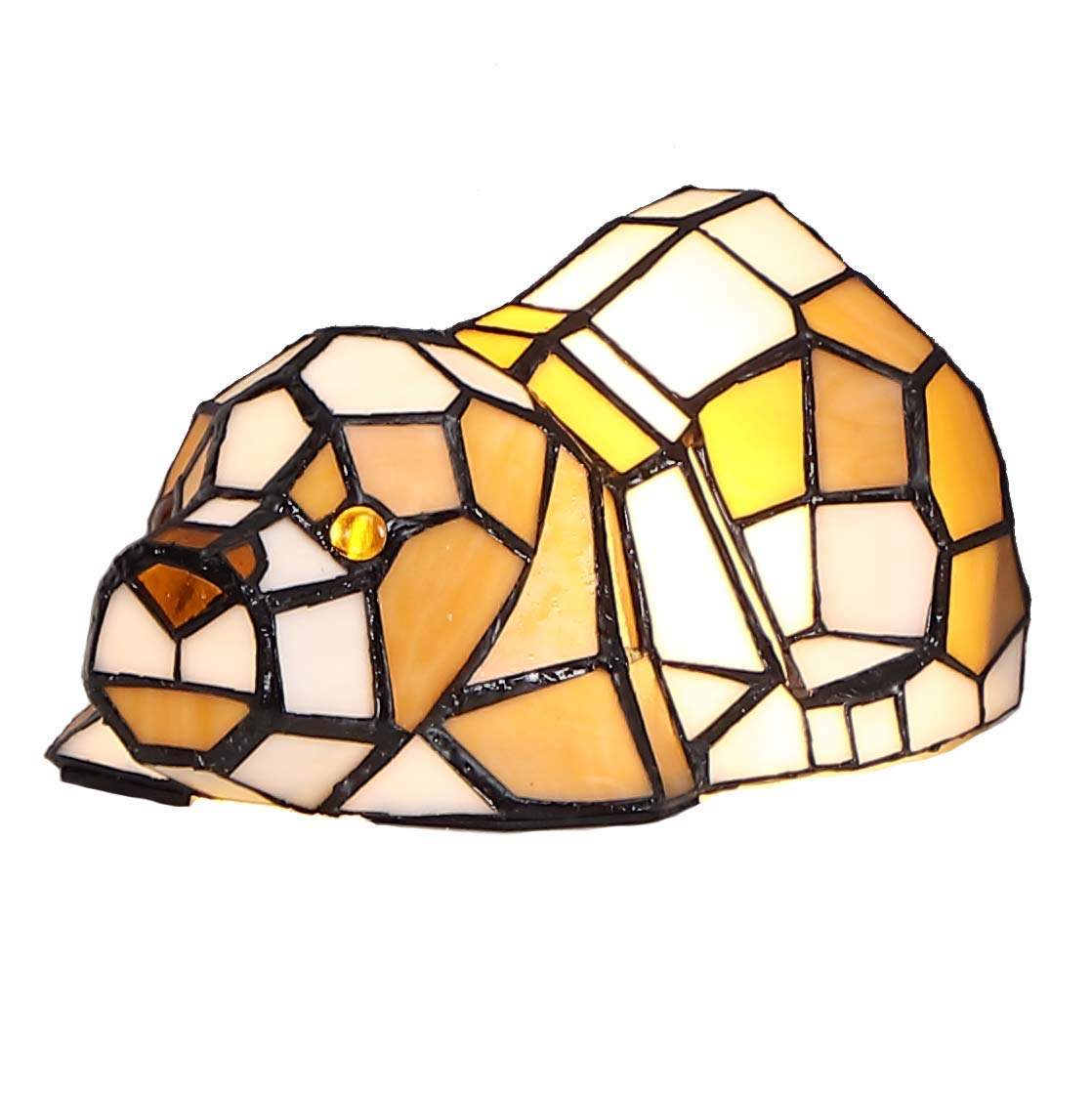 Bieye L10210 Cute Puppy Dog Patiently Waiting for Someone to Play with Tiffany Style Stained Glass Accent Table Lamp Night Light for Bedside Living Room Office Bedroom Animal Pet Lover, Orange