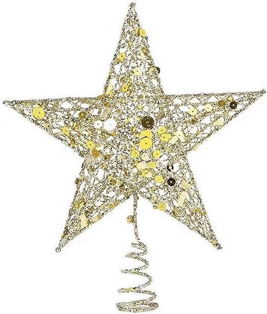 iWerDon Christmas Tree Topper Star Tree Topper for Christmas Tree Decoration 25cm Gold