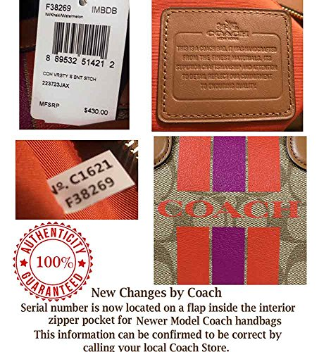 New Striped in Bag C SALE Saddle Authentic Satchel COACH Speedy Monogram Khaki Logo Runway avv8qFd4T