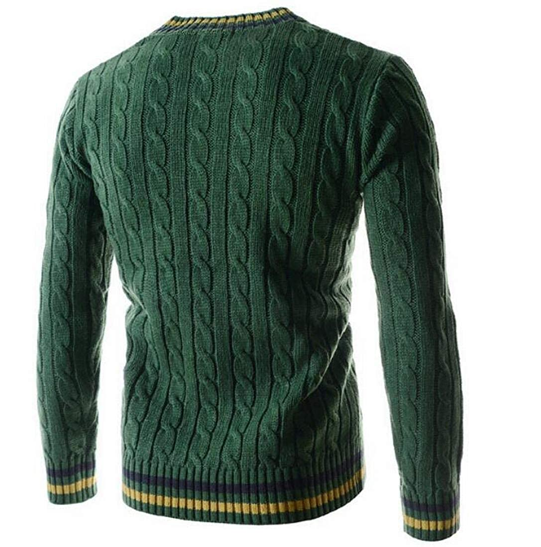 UUYUK Men Slim Fit Knit Long Sleeve V-Neck Pullover Sweater