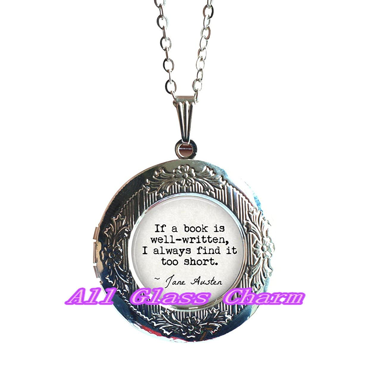 Book Jewelry,EO101 Book Locket Necklace I always find it too short Charming Locket Necklace,Beautiful Locket Necklace,Literary Quote Jewelry If a book is well-written Book Lover Gift