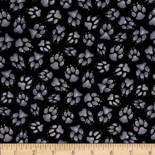 Elizabeth's Studio Wild Run Paw Prints Black Fabric by The Yard,